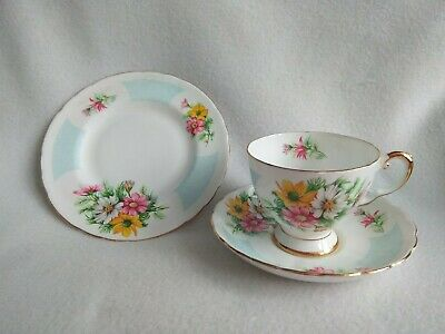 Tuscan Birthday Flowers October's Cosmos. Cup Saucer Tea Plate Trio. Bone China • 14£