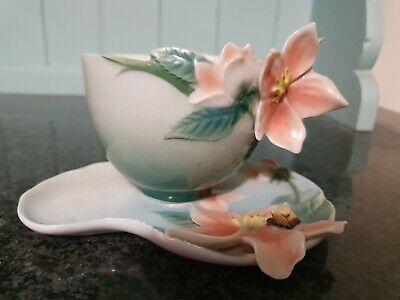 Franz Porcelain Bee Apple Blossom Cup, Saucer Excellent Condition • 20£