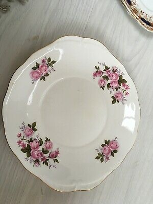 Vintage Queen Anne Bone China Cake  / Sandwich Plate Pink Floral Gold Edging. • 5£