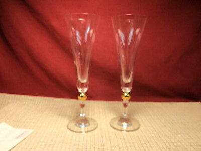Home Essentials Crystal Pair Of Gold Ball Stem Champagne Flutes • 11£