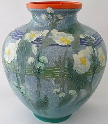 Unusual Large Royal Doulton Pottery Vase Decorated With Flowers • 375£