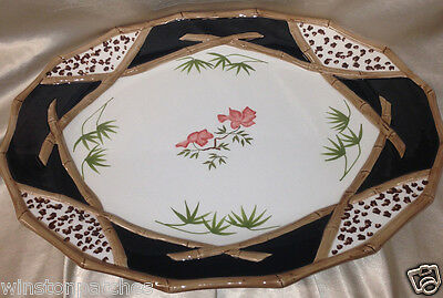 Zrike Bamboo Forest 18 7/8  Oval Serving Platter Brown Bamboo Trim White & Black • 77.49£