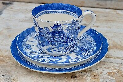 Antique Copeland Willow Pattern Blue & White Trio Cup Saucer Plate • 9.99£