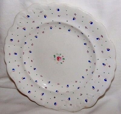 Antique Welsh?hand Painted Blue & Pink Lustre Plate  • 34.99£