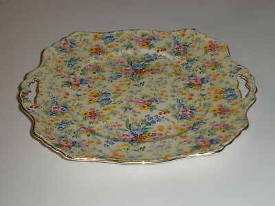 Royal Winton Chintz Handled Square Cake Plate Floral Feast Pattern 1930 • 257.71£