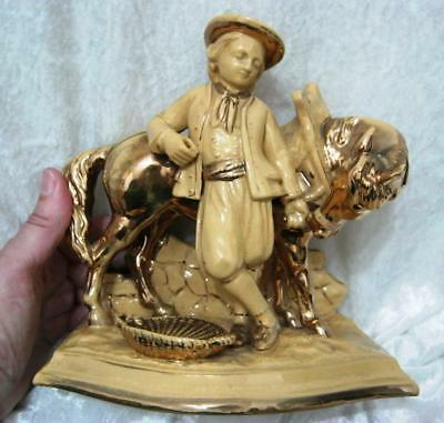 Eichwald Creamware Pipeholder In Man With Horse Design With Gilding • 63.75£