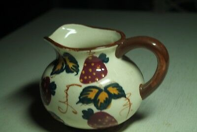 Vintage Old Antique Creamer Gravy Syrup Pitcher Strawberry Leaves Brown Red • 24.26£