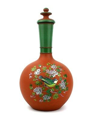 Victorian Bottle Vase With Cover Birds Floral Watcombe ? Enamelled • 124.99£