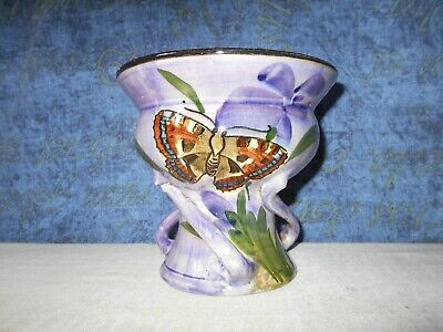 Pretty Devonware Vase In Purple Decorated With A Butterfly Torquay 167 5 Inches • 14.99£
