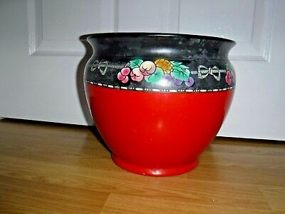 Vintage Shelley Ware Large Jardiniere ~ Red & Black Floral ~ 9  High ~ Rare • 59.99£