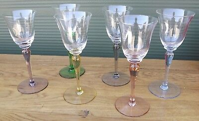 Vintage Boxed Set Of 6 Small Glasses With Coloured Stems • 65£