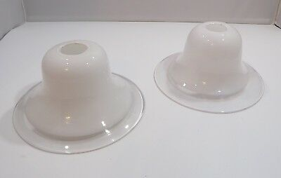 Pair Of Modern Glass Lampshades Shades, Part Opaque (h:9cm, Diam:16cm) • 35£