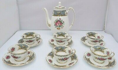 Vintage Foley China Montrose Coffee Pot & 6x Coffee Cans Cups & Saucers Set • 60£