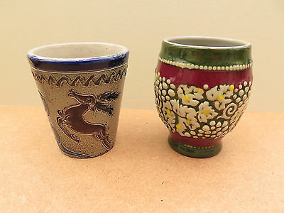 2 Small Decorative Ceramic Goblets • 9£