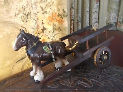 Vintage  Melba Ware  Shire Horse And Cart, Part Harness • 45£