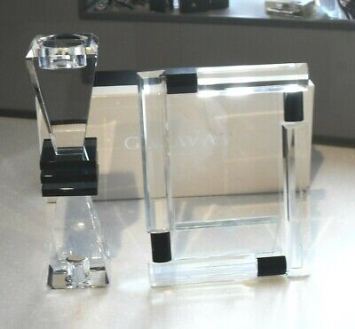 STUNNING GALWAY CRYSTAL GLASS ART DECO 1920s INSPIRED PHOTO FRAME & CANDLE STICK • 69.99£