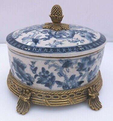 Brass-Mounted Blue & White Lidded Table Dish Pot In The Antique Style • 50£