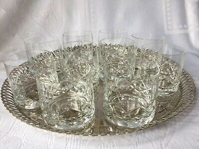 SET OF 10 CUT GLASS WHISKY GLASSES -  BEAUTIFUL CURVED SHAPE - 6.5 Cms High • 30£