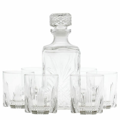 Bormioli Rocco Selecta 1 Litre Glass Whiskey Decanter With 6 Glasses Set • 13.50£