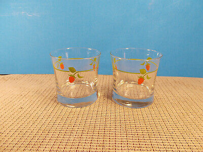 Nice Set Of 2 Glass Double Old Fashioned Tumblers Strawberry Design 3 1/2   • 6.55£