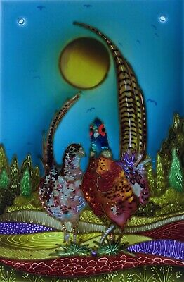 Pheasants Original Hand Painted Stained Glass Style Panels And  Splashbacks • 40£