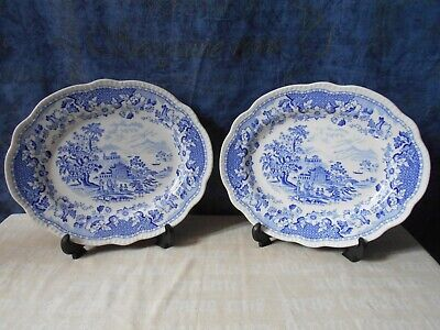 Two Staffordshire Oval Plates Or Platters Seaforth Pattern W238 • 12.99£