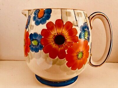 CHARMING  GRAY'S POTTERY HAND PAINTED JUG - TRELLIS PATTERN (9089) - 1930s • 35.99£