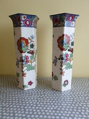 A Vintage Pair Of Matching Crown Ducal Tall Vases. Floral Design.  • 40£