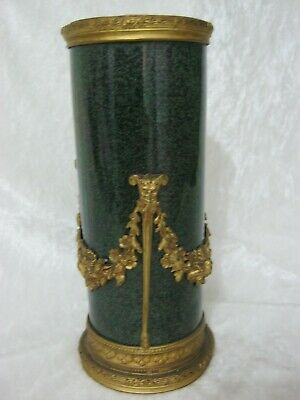 C19th Sevres French Porcelain Vase Powder Green Glaze & Applied Gilt Metal Mount • 293.25£