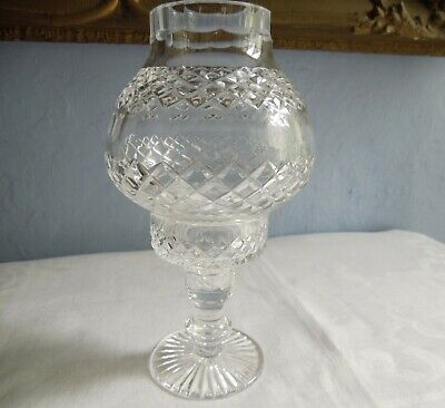 Vintage Tyrone Crystal/Cut Glass Hurricane Candle Holder • 39.99£