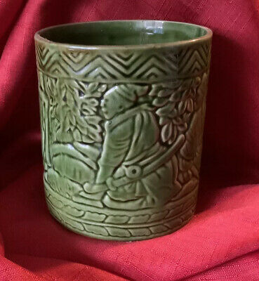 Bretby Art Pottery Planter Pot Green Small Chinese Sage Figures Shape No.955A • 12.50£