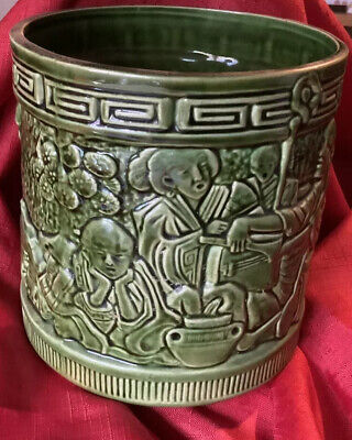 Bretby Art Pottery Planter Pot Green Large Chinese Sage Figures Shape No.955B • 20.50£