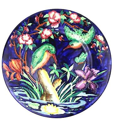 Maling Kingfisher Plate Tube Lined Flora & Fauna 28 Cm • 49.99£