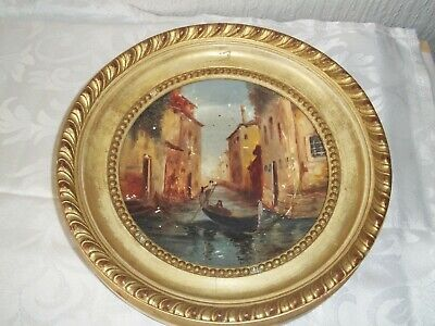 Vintage Gilt Round Frame With Royal Albert Plate Of Venice Scene • 8.50£