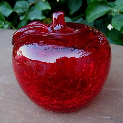 Vintage Red Crackle Glass Apple Paperweight • 7.28£
