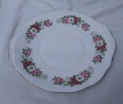 Vintage Queen Anne Cake Plate In Pink Rose Pattern • 2.99£