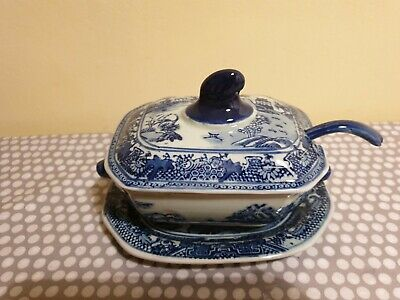 Vintage Ironstone Victoria Ware Flow Blue Sauce Tureen With Under Plate & Spoon  • 30£