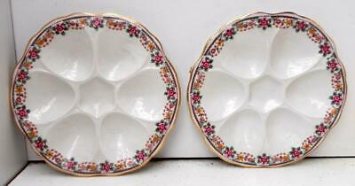 Pair Of Vintage French Chintz Border Oyster Seafood Plates, White • 24.99£