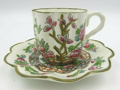 Antique C19th Coalport Scalloped Small Demitasse Cup & Saucer Indian Tree • 50£