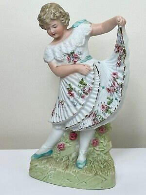 Antique Early 20th Century German Bisque Porcelain Pretty Floral Girl Figurine   • 383£
