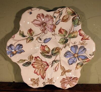 RARE AESTHETIC Antique Adderley Ware Victorian English Floral Oyster Plate 1880s • 45£