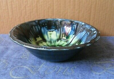 Portmadoc Green Blue Black Drizzle Glaze Bowl 8 3/4 Inch Wide • 6.99£