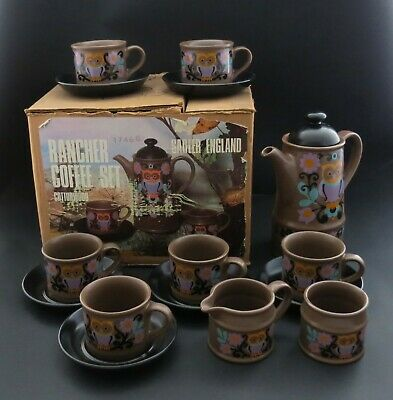 FUNKY Vintage Sadler Rancher Cottonwood Owl Coffee Set. 1960s/70s. Mint With Box • 40£