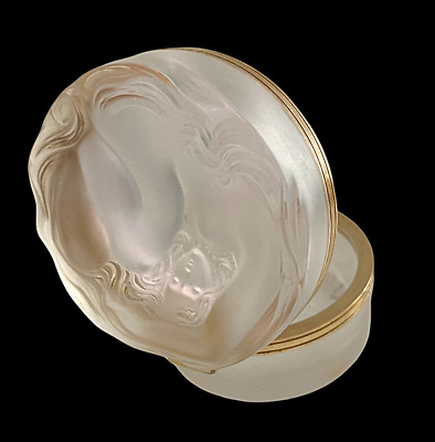 Lalique Crystal Daphne Nymph Nude 3 Inch Frosted Powder Box Dresser Jar 10577 • 250£