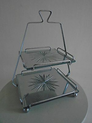 PERIOD  1930s ART DECO  TWO TIER  MIRRORED GLASS STARBURST CAKE STAND • 46.99£