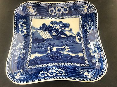 Antique Wedgwood Blue & White Transfer Printed Ware Fallow Deer Dish Square B/W • 24.99£