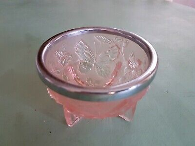Pretty Pink Glass Bowl With Butterflies And Flowers • 6£