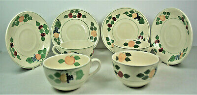 Adams Titian Ware - 4 Small Cups & Saucers - Handpainted Fruit Pattern • 19.99£