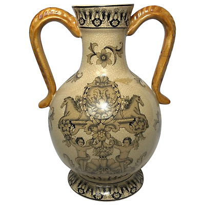 1 Fine Vintage French Mustard Coat Arms Cherubs Armorial Style Earthenware Vase • 295£