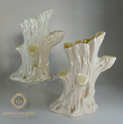 Pair Of Vintage Belleek Porcelain Tree Stump Vases • 20£